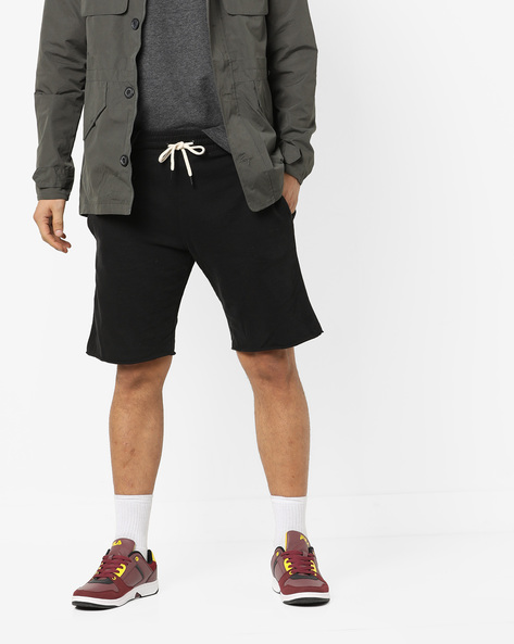 Slim Fit Shorts With Elasticated Waist By ALCOTT ( Black )