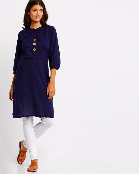 Straight Kurta With Pleated Front Yoke By AVAASA MIX N' MATCH ( Blue )