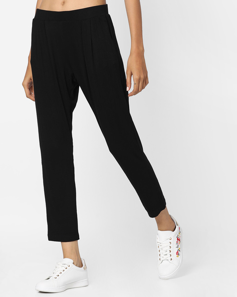 Pleated Pants With Elasticated Waist By Project Eve WW Athleisure ( Black )