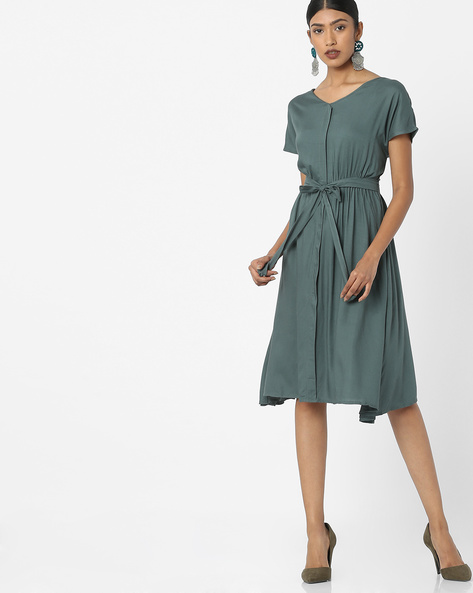 V-neck Dress With Tie-Up By Tokyo Talkies ( Olive )