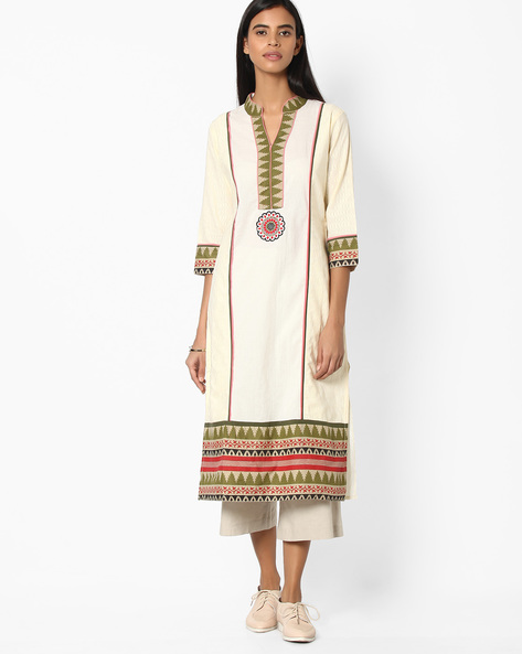 Cotton Straight Kurta With Mandarin Collar By Jiyaa ( Offwhite )