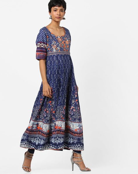 Floral Print Anarkali Kurta With Flared Sleeves By Biba ( Indigo )