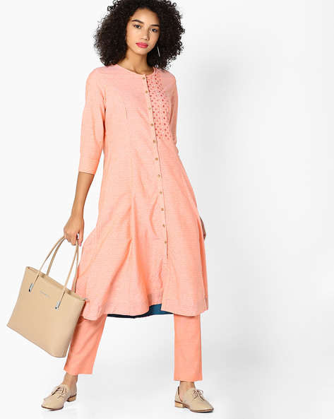 Printed Kurta With Button Placket By AJIO ( Orange )