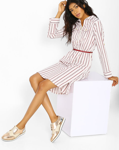 Striped Zip-Front Shirt Dress By FIG ( Offwhite )