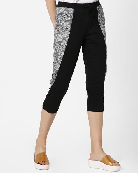 Printed Capris With Drawstring Waist By Mystere Paris ( Black )