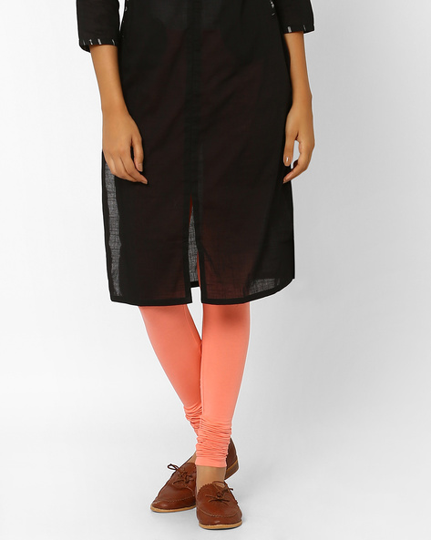 Churidar Leggings With Elasticated Waistband By AJIO ( Coral )