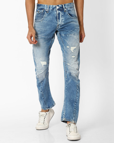Panelled Distressed Skinny Jeans By VOI JEANS ( Lightblue )