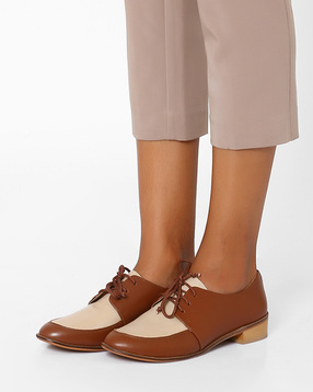 Colourblock Genuine Leather Oxford Shoes