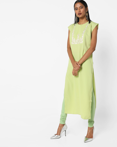 Embroidered Straight Kurta With Churidar Leggings By AJIO ( Green )