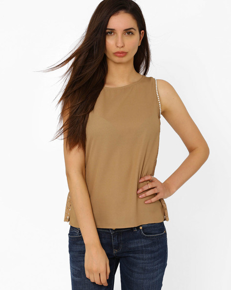 Sleeveless Lace Top By The Vanca ( Brown )