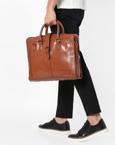 Panelled Laptop Messenger Bag By GAUGE MACHINE ( Tan )