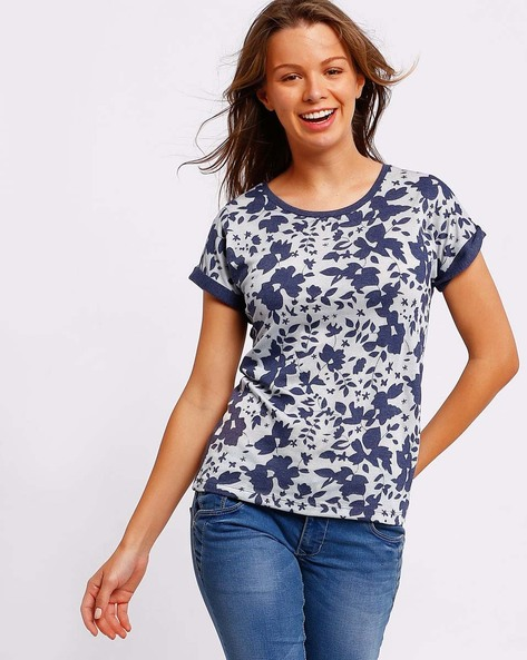 Floral Print T-shirt With Upturned Hems By DNMX ( Blue )