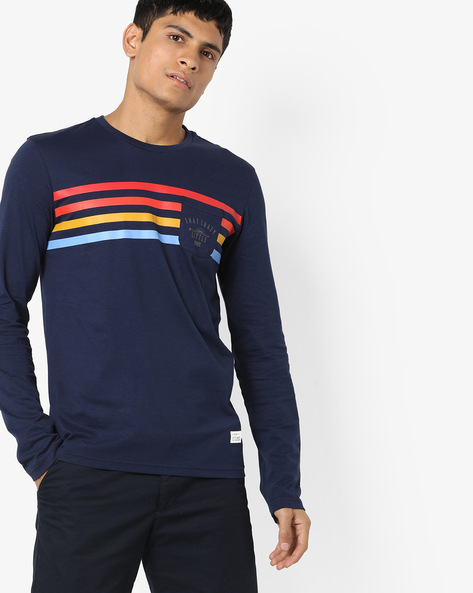 Crew-Neck T-shirt With Patch Pocket By UNITED COLORS OF BENETTON ( Blue )