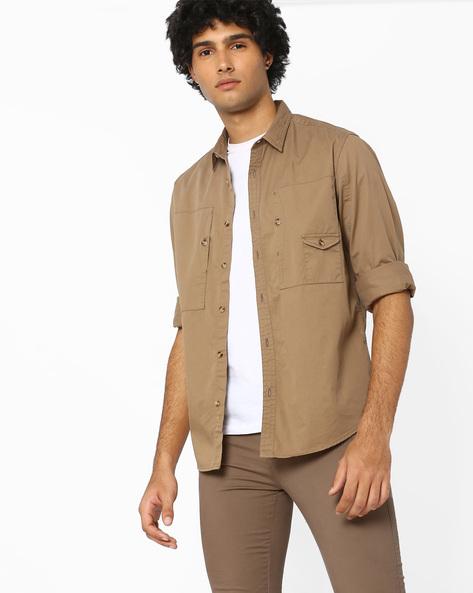Regular Fit Shirt With Curved Hem By AJIO ( Khaki )