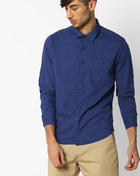 Regular Fit Shirt With All-Over Print By NETPLAY ( Blue )