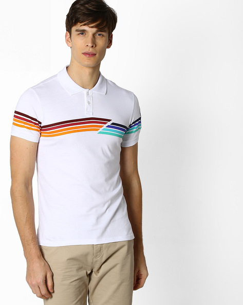 Polo T-shirt With Stripes By Celio ( White )