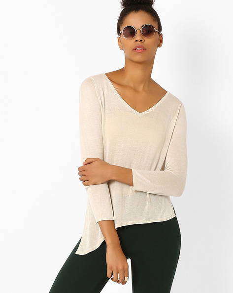 V-neck Top With Asymmetrical Hem By Only ( Grey )