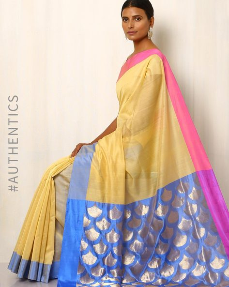 Handwoven Pure Silk Cotton Chanderi Saree By Indie Picks ( Yellow )
