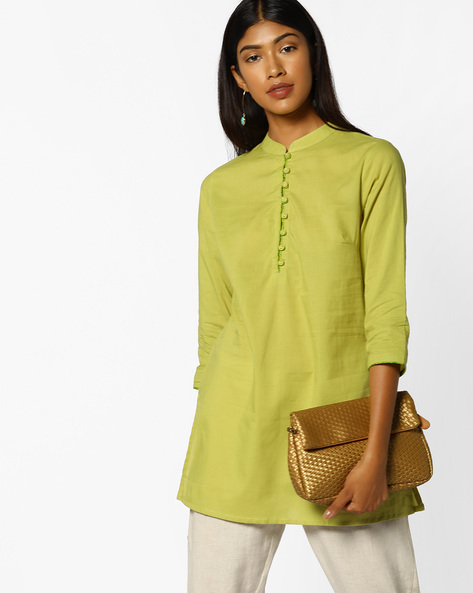 Cotton Tunic With Mandarin Collar By AJIO ( Lime )