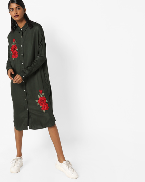 Shirt Dress With Floral Embroidery By AJIO ( Olive )