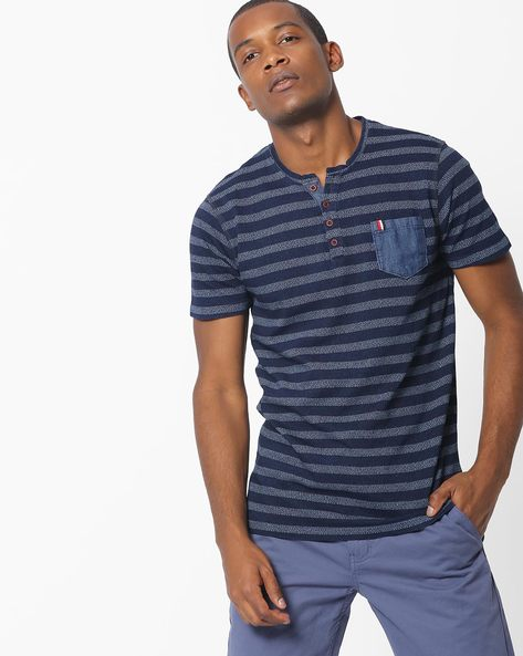 Striped Henley T-shirt With Patch Pocket By DNMX ( Blue )