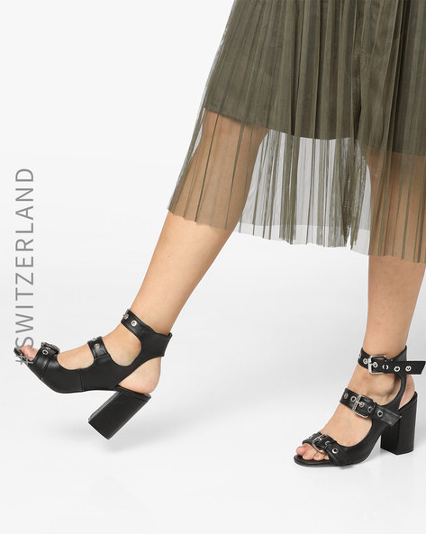Strappy Slingback Chunky-Heeled Sandals By TALLY WEiJL ( Black )