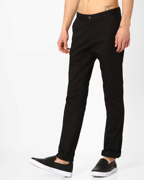 Slim Fit Flat Front Trousers By AJIO ( Black )