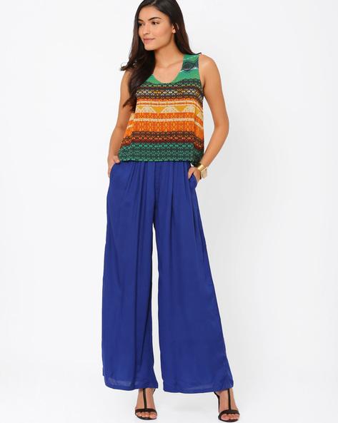 Printed Jumpsuit By Akkriti By Pantaloons ( Blue )