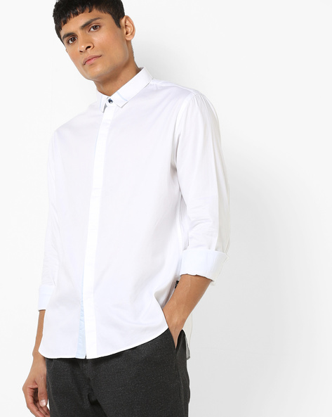 Slim Fit Shirt With Concealed Placket By FLYING MACHINE ( White )
