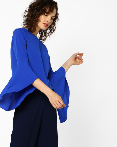Top With Bell Sleeves By AJIO ( Blue )