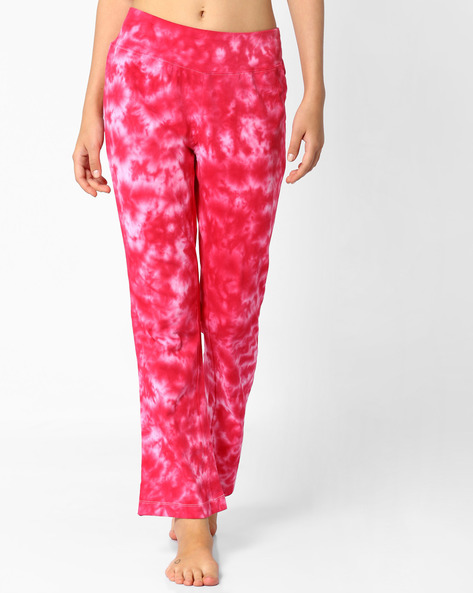 Printed Mid-Rise Track Pants By AJIO ( Pink )