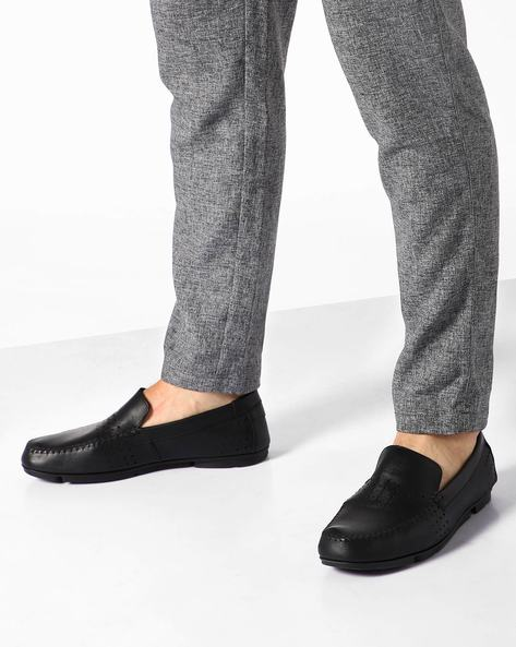 Leather Slip-Ons With Perforations By CLARKS ( Black )