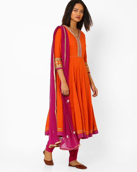 Anarkali Churidar Kurta With Dupatta By AJIO ( Orange )