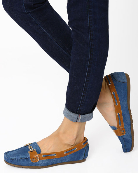 Faux Leather Moccasins By AJIO ( Blue )