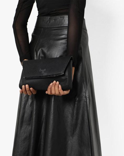 L Crisp Y G Hercule Textured Clutch By BAGGIT ( Black )