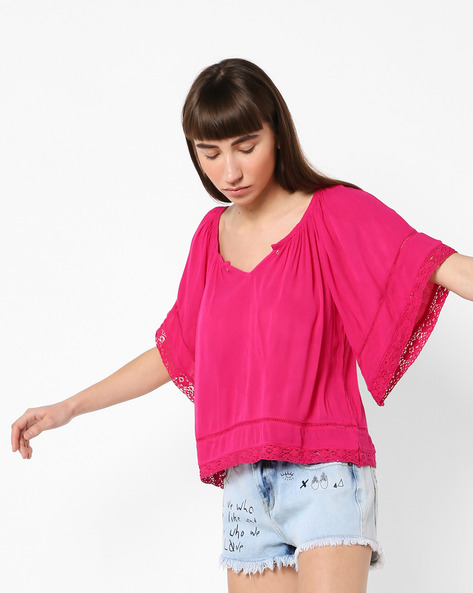Top With Bell Sleeves By CODE By Lifestyle ( Pink )
