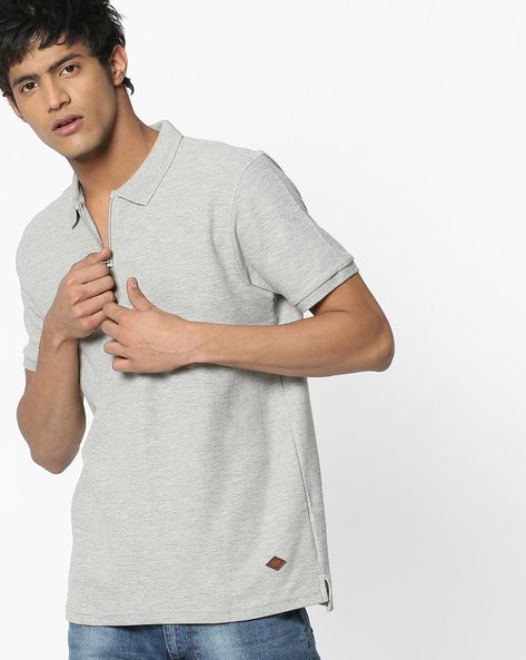 Cotton Polo T-shirt With Zip Closure By DNMX ( Greymelange )