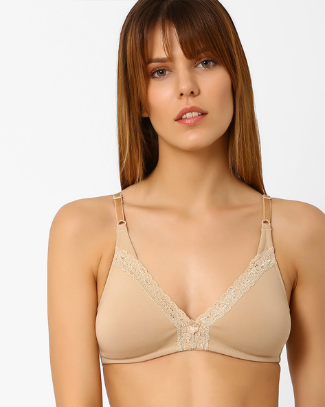 Non-Padded Bra With Lace Inserts By Zivame ( Beige )