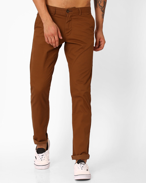 Tapered Fit Flat-Front Trousers By BASICS ( Ltmulti )