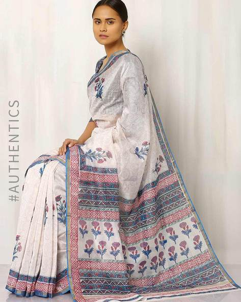 Hand Block Print Chanderi Saree By Indie Picks ( Multi ) - 460016418001
