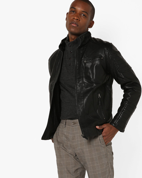 Slim Fit Biker Jacket By The Indian Garage Co ( Black ) - 460144894002