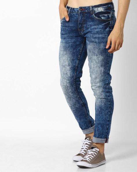 Acid Wash Skinny Jeans By DNM X ( Darkblue ) - 440700744005