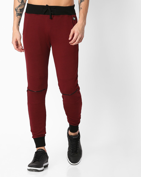 Cotton Joggers With Zip Detail By KULTPRIT ( Maroon )