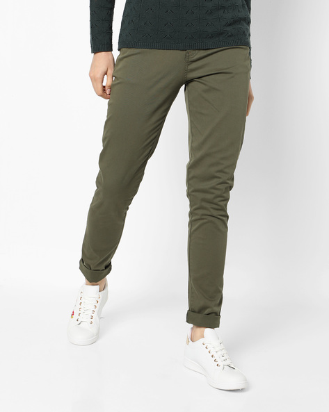 Skinny Fit Ankle-Length Trousers By Project Eve WW Casual ( Olive )