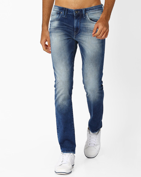 Mid-Rise Heavily Washed Michael Jeans By FLYING MACHINE ( Blue )