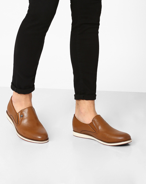 Faux Leather Slip-Ons By Spunk ( Tan )