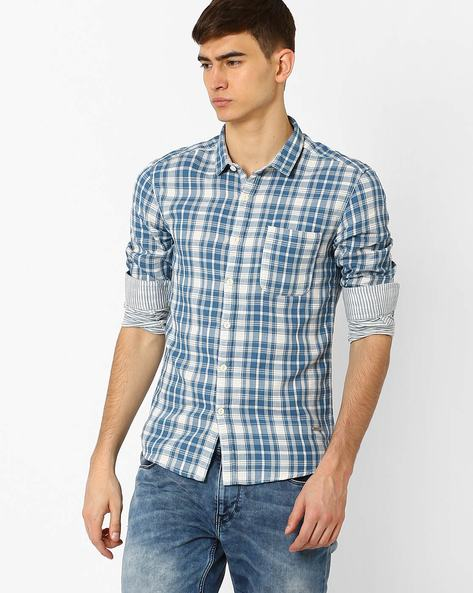 Checked Slim Fit Shirt By VOI JEANS ( Blue )