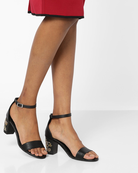 Heeled Sandals With Embroidery By AJIO ( Black )
