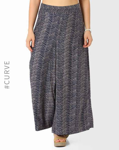 Printed Palazzo Pants By Oxolloxo ( Blue )