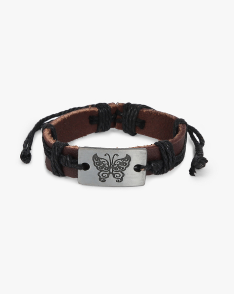 Bracelet With Metal Accent By ALPHA MAN ( Black ) - 460134301003